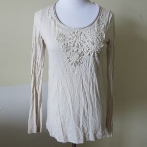 J. CREW Embroidered Floral Beige LS Top Size Small